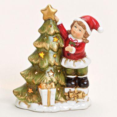 Porzellan Windliche - Kind mit Baum 2015